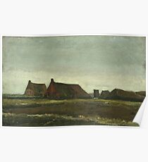Vincent Van Gogh - Cottages. Country landscape: village view, country, buildings, house, rustic, farm, field, countryside road, trees, garden, flowers Poster