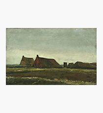 Vincent Van Gogh - Cottages. Country landscape: village view, country, buildings, house, rustic, farm, field, countryside road, trees, garden, flowers Photographic Print