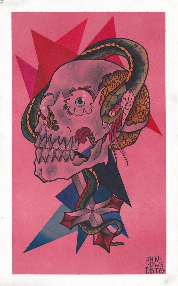 Original Watercolor Painting of Skull on Cross with Snake by johndeweese