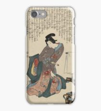 Utagawa Kunisada - Ueshima Monya From The Series The Forty-Seven Ronin. Woman portrait: woman, geisha, kimono, dream, feeling, umbrella, dress, fashion , female, makeup, wig iPhone Case/Skin