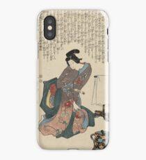 Utagawa Kunisada - Ueshima Monya From The Series The Forty-Seven Ronin. Woman portrait: woman, geisha, kimono, dream, feeling, umbrella, dress, fashion , female, makeup, wig iPhone Case/Skin