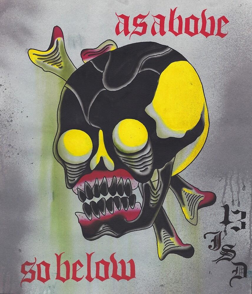 Original Watercolor Painting of Skull As Above So Below by johndeweese