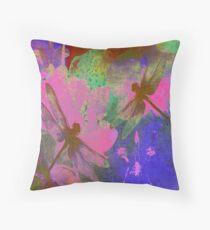 Painting Dragonflies and Pink Orchids Dekokissen