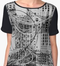 Analog Synthesizer - Modular Design - black & white Chiffon Top