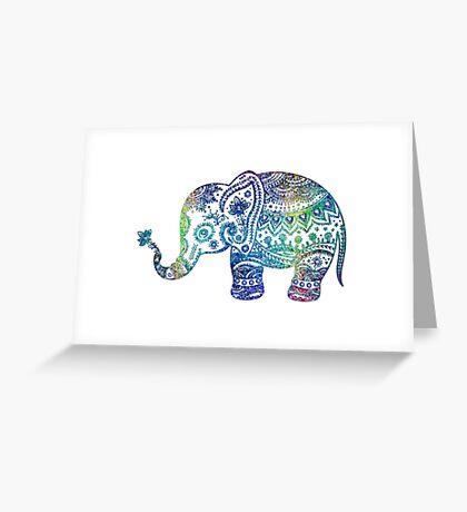 Colorful Elephant Glitter Texture Greeting Card