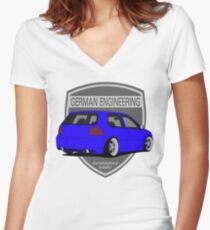 German Engineering -Blue Women's Fitted V-Neck T-Shirt