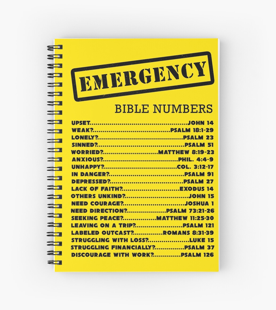 Quot Emergency Bible Numbers Quot Spiral Notebooks By Jw Arts