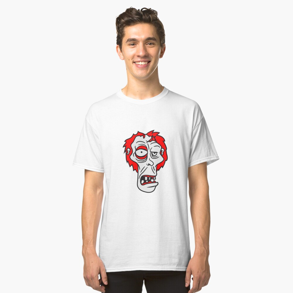 zombie face head ugly comic cartoon funny horror halloween Classic T-Shirt Front