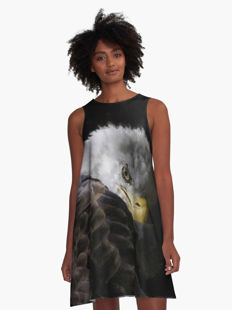 America Painted Eagle  A-Line Dress Front