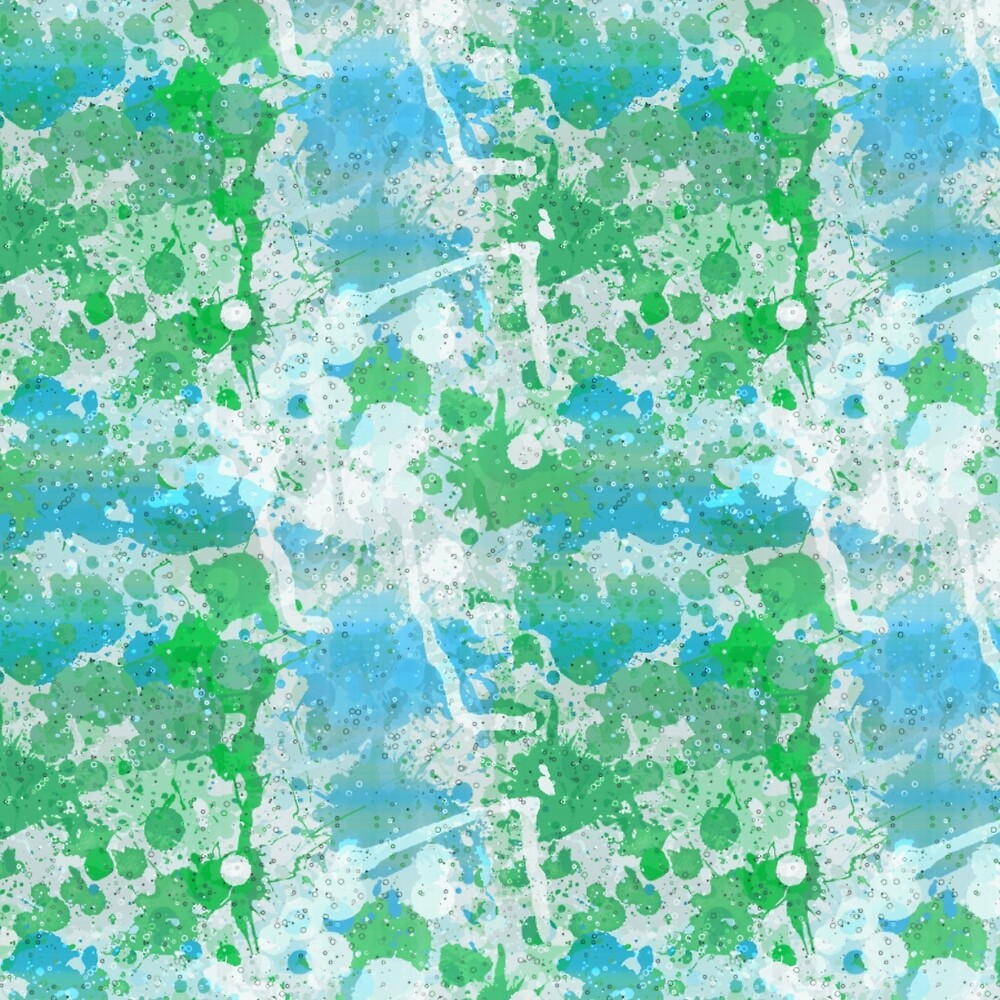 Abstract Paint Splatters Blues & Greens by Elaine Plesser