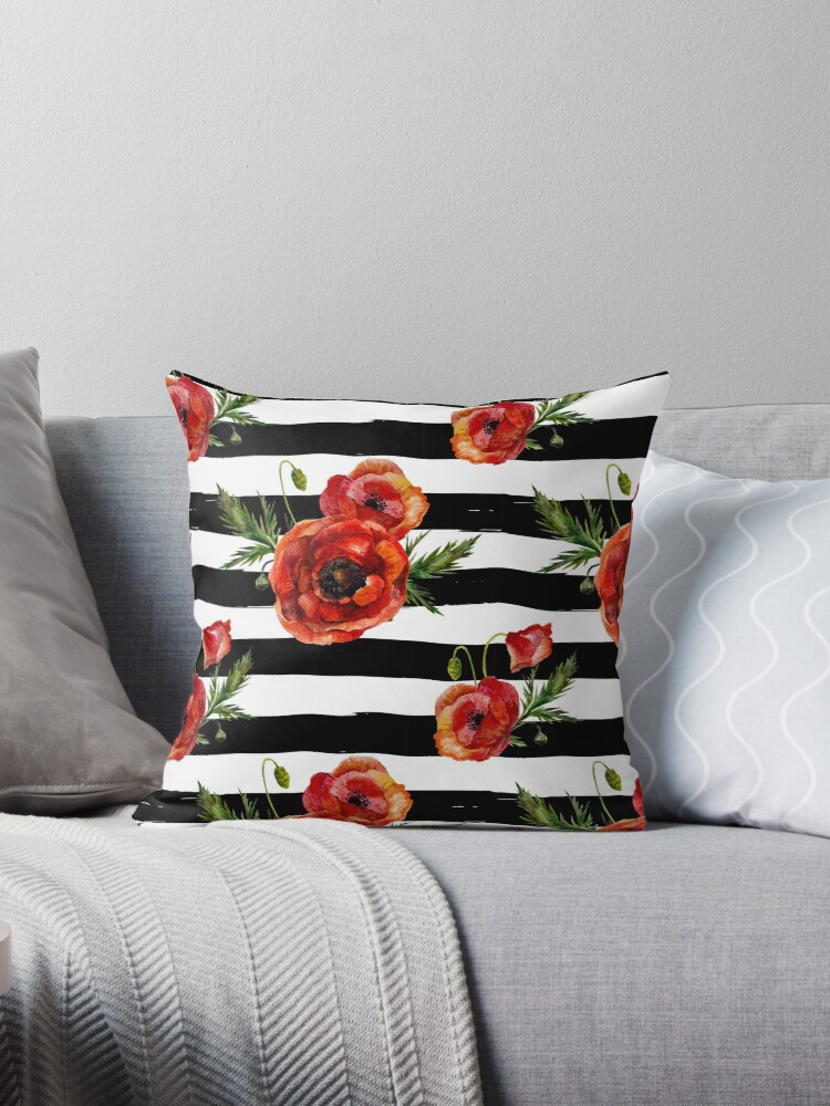 Watercolor poppies on black birch sripes by StudioMetzger