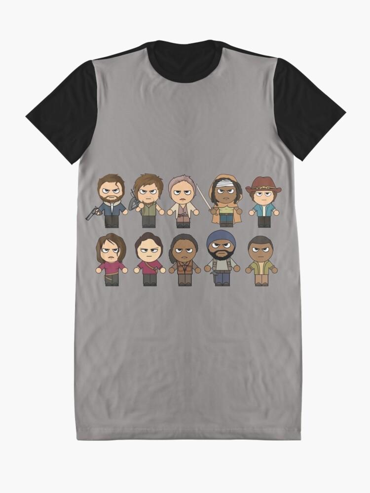 Vista alternativa de Vestido camiseta The Walking Dead - Personajes principales Chibi - AMC Walking Dead