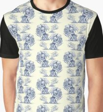 Picnic with Cthulhu  - Blue on Cream Graphic T-Shirt