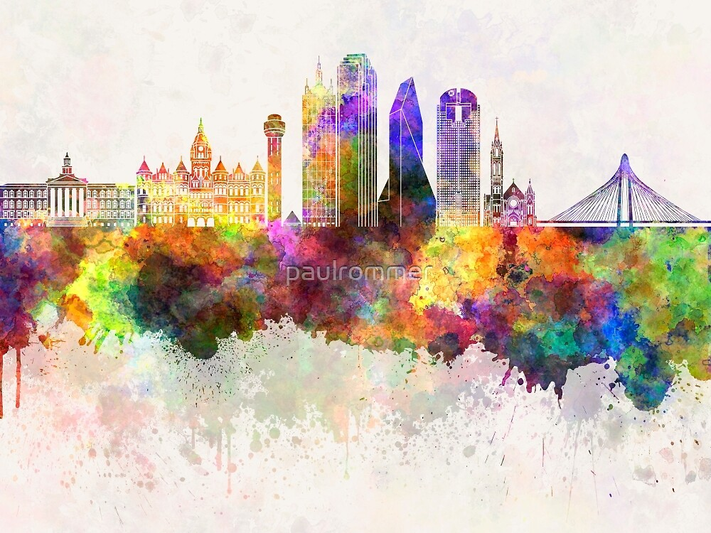 Dallas skyline in watercolor background by paulrommer
