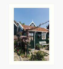 Dutch Country Charm - a Beautiful Little Cottage with Flowers Art Print