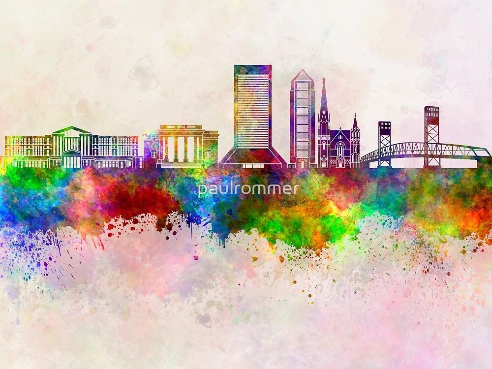 Jacksonville skyline in watercolor background by paulrommer