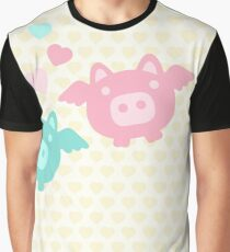 Pastel Flying Pigs in Love Graphic T-Shirt