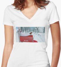 Schneevogel Shirt mit V-Ausschnitt