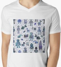 Robots in Space - blue and grey - fun pattern by a Cecca Designs Men's V-Neck T-Shirt
