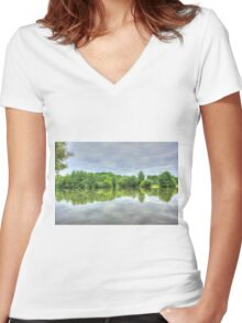 Cloudy Reflection HDR Women's Fitted V-Neck T-Shirt
