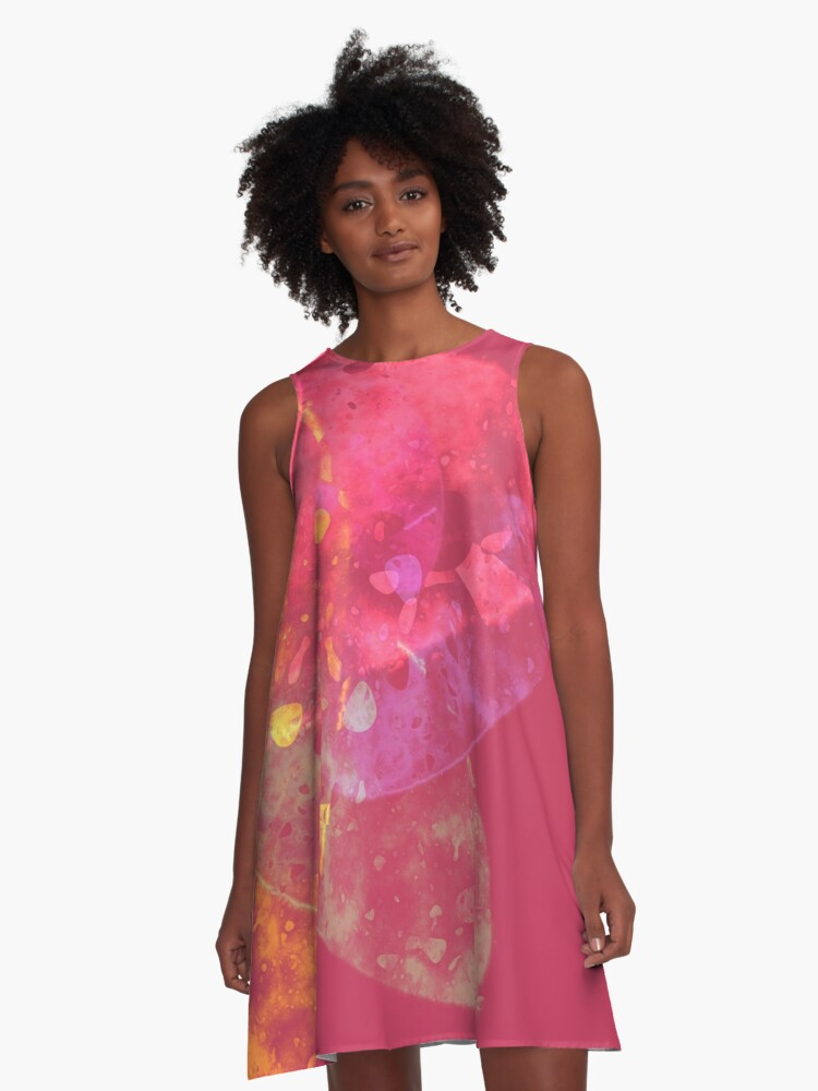pink and orange abstract A-Line Dress Front