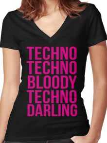 Absolutely Fabulous - Techno, Techno Women's Fitted V-Neck T-Shirt