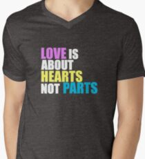 Love is about Hearts Not Parts, LGBT Pride Equality Swag & Gifts Men's V-Neck T-Shirt