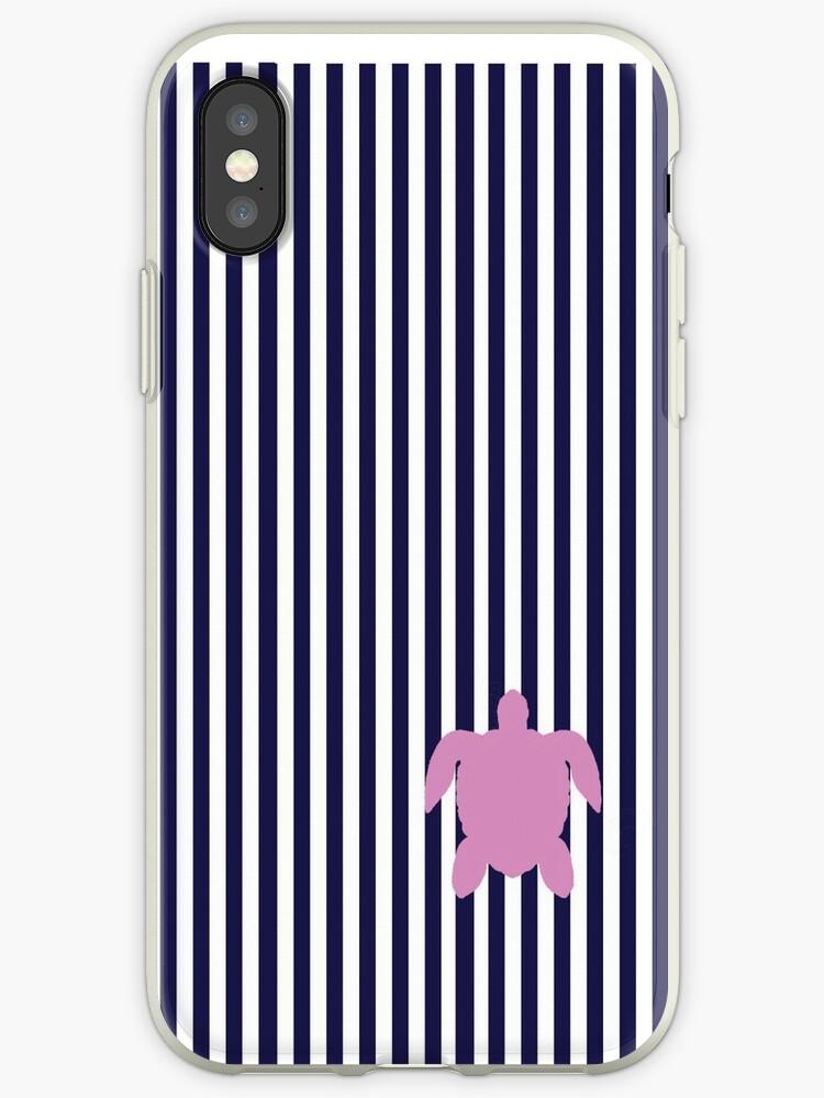 Navy Blue/Pink Seaturtle Seersucker Nautical Print by Nicholas Giampiccolo