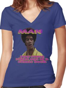 Right Out of a Comic Book Women's Fitted V-Neck T-Shirt