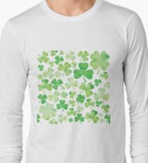 St Patricks Day Green Watercolour Shamrock Pattern Long Sleeve T-Shirt