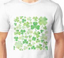 St Patricks Day Green Watercolour Shamrock Pattern Unisex T-Shirt