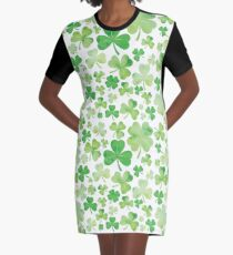 St Patricks Day Green Watercolour Shamrock Pattern Graphic T-Shirt Dress