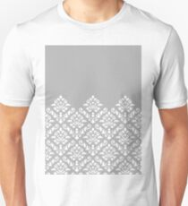 Damask Baroque Part Pattern White on Grey Unisex T-Shirt
