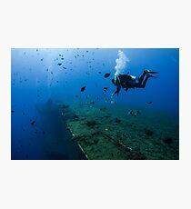 Diver at the MS Zenobia shipwreck.  Photographic Print
