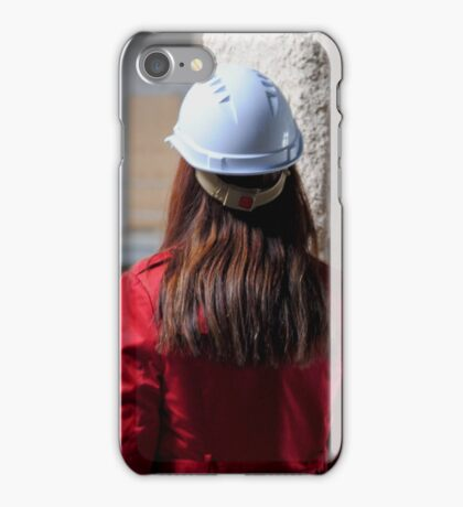 Construction Site-Lady In Red  iPhone Case/Skin