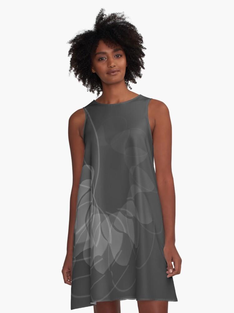 gray spiral A-Line Dress Front