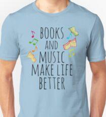 Camiseta unisex libros y música hacen la vida mejor # 2