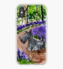 Scottie Dog in Bluebell Woods watercolour iPhone Case