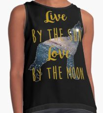 Live By the Sun Love By the Moon - Wolf Galaxy Contrast Tank