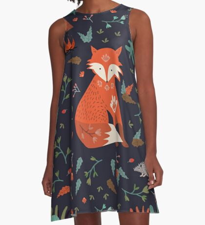 Camping With Fox A-Line Dress