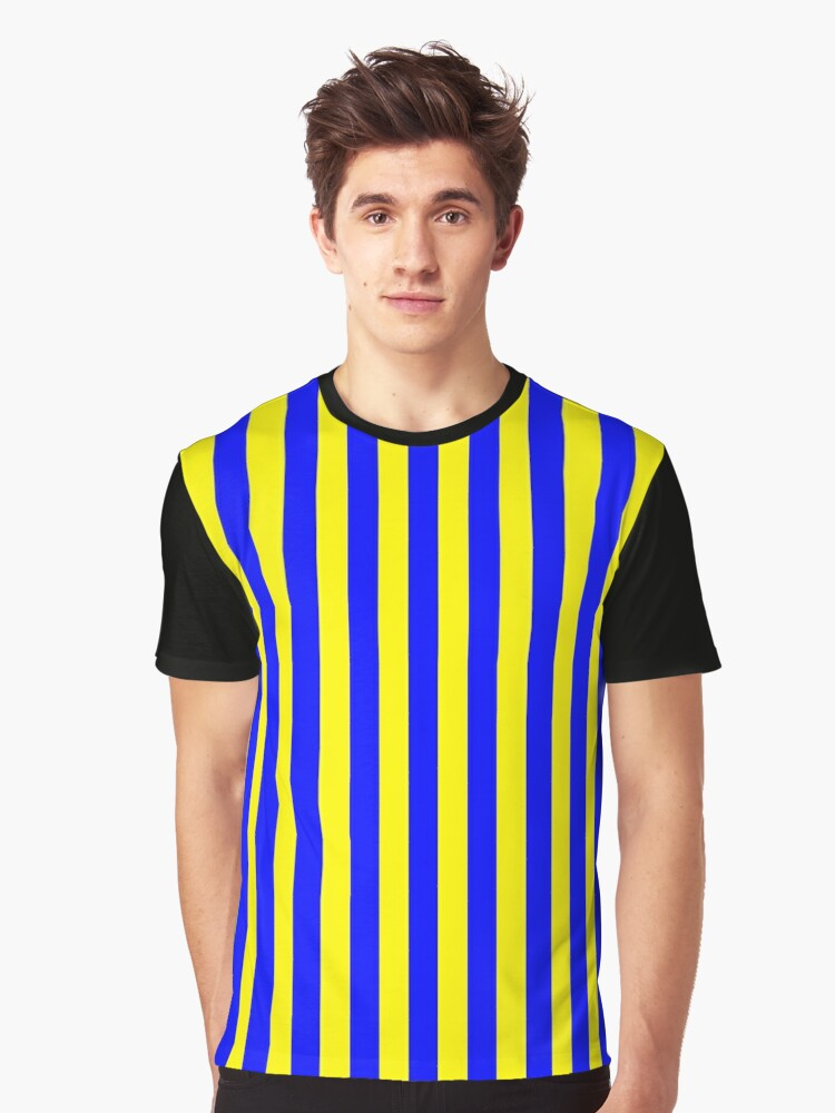 Blue and Yellow stripes - Pixel Field Series design Graphic T-Shirt Front