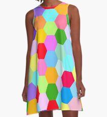 Multicoloured Hexagon Pattern A-Line Dress