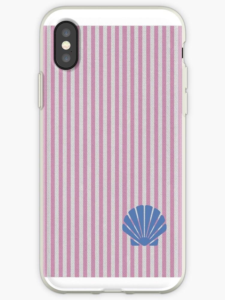 Pink/Blue Seashell Seersucker Print by Nicholas Giampiccolo