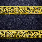 Black Leather Yellow Damask Border by Nhan Ngo