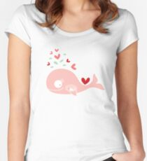 Whimsical Pink Pregnant Mommy Whale Women's Fitted Scoop T-Shirt