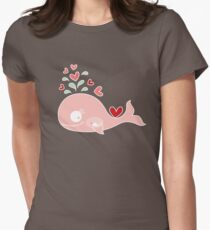 Whimsical Pink Pregnant Mommy Whale T-Shirt