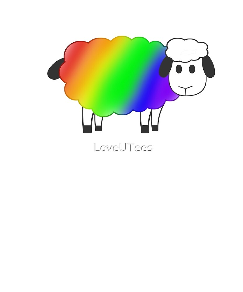 Rainbow Equality Sheep, LGBT Gay Pride Parade Swag, unique rainbow gifts by LoveUTees