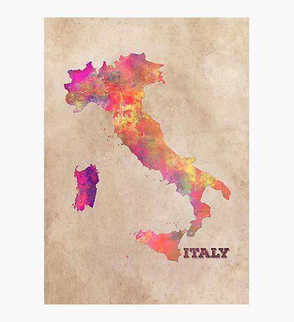 Italy map Photographic Print