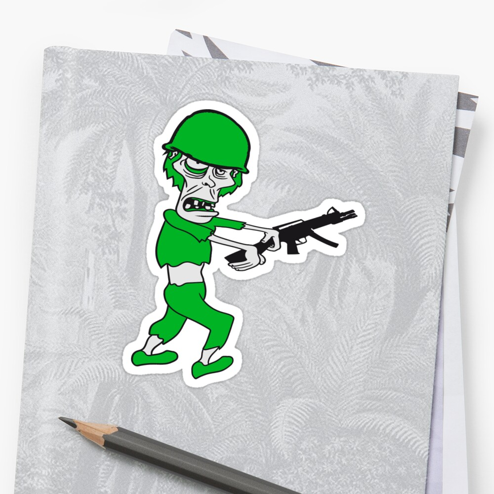 soldier machine gun military army war zombie run go ugly comic cartoon funny horror halloween by Motiv-Lady
