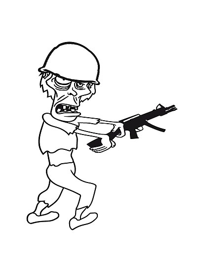 Soldier Machine Gun Military Army War Zombie Run Go Ugly Comic